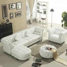 Modern Living Room Sets Set White Leather Chesterfield Sofa Buy Product On Alibaba Com