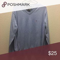 Tommy Hilfiger men's v-neck sweater light blue. gently used. bundle with other size large men's sweaters for a bundle deal. Tommy Hilfiger Sweaters V-Neck