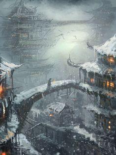 winter concept art by =wlop on deviantART Fantasy City, Fantasy Places, Fantasy World, Fantasy Setting, Environment Concept Art, Wow Art, Fantasy Inspiration, Fantasy Landscape, Landscape Architecture