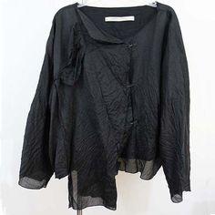 Cynthia Ashby jacket lagenlook top black artsy art to wear quirky crinkled sz OS #CynthiaAshby #BasicJacket