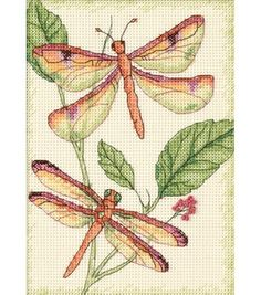 Dimensions Dragonfly Duo Mini Counted Cross Stitch Kit, , hi-res