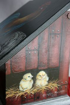 Hand painted rooster, chicks & eggs basket recipe box side view by sherrylpaintz