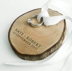 Ring Bearer from birch wood and white cotton by naneHandmade. $35.00 USD, via Etsy.
