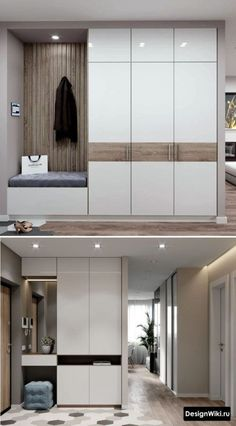 Flurgestaltung in Wohnung 108 Fotos (echt) und 5 Ideen - Дизайн Прихожей - Wardrobe Door Designs, Wardrobe Design Bedroom, Bedroom Bed Design, Bedroom Furniture Design, Modern Bedroom Design, Home Interior Design, Hall Wardrobe, Sliding Wardrobe Doors, Bedroom Cupboard Designs