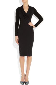 Donna KaranStretch cotton-blend and stretch-crepe dress