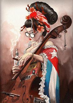 soy cuba ? by derbyblue Published by Maan Ali #cuba #japan change hair, bottle--havana club, corss--caridad del cobre, yellow--vertical nikkeijin, che--jose marti, akira--nihonjindesuka, no glasses or gages, add geisha makeup, add santeria beads