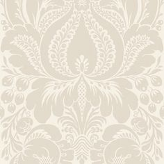 allen + roth Grey Large Scale Damask Wallpaper