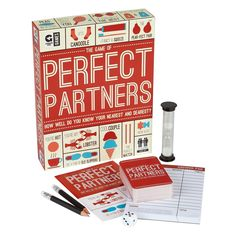 The games where the contestants find out how well they know their nearest and dearest! Perfect Partners is a humorous myth-shattering party game of love, friendship and blushes, designed to test how well couples know each other! Be prepared to be open and honest, otherwise you risk losing valuable points!