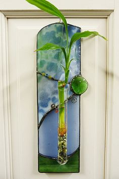 Beautiful Blues Lucky Bamboo  Stained Glass Panel by miloglass, $35.00