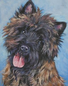cairn terrier art print Canvas print of LA Shepard by TheDogLover