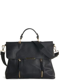 Equipped with Elegance Bag. Tote your belongings in sophisticated style with this sleek black bag! #gold #prom #modcloth