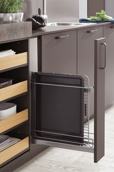 Modern fitted kitchen Norina 3317 slate gray, It doesn't always have to be just classic drawers. Bring variety to your kitchen organizer. Appropriate storage space makes it easy to avoid clutter. Small Bedroom Storage, Small Space Bedroom, Storage Spaces, Kitchen Rack, Kitchen Cupboards, Balcony Furniture, Kitchen Furniture, Bedroom Furniture, Furniture Storage