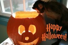 Halloween_ecard Helping Hands, Pumpkin Carving, Monkey, Halloween, Jumpsuit, Pumpkin Carvings, Monkeys, At Sign, Spooky Halloween