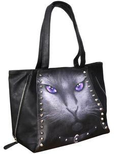 Calavera gatito gato candy Bolso de hombro Banned Negro