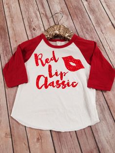 Red Lip Classic Taylor Swift Red Sparkle Raglan Shirt by SnowSew