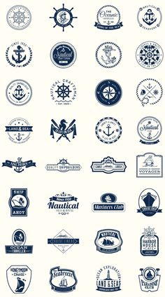 Pack of perfect nautical shields for logos Nautical Logo, Nautical Design, Rock Design, Web Design, Logo Inspiration, Daily Inspiration, Rundes Logo, Logos Online, Marines Logo