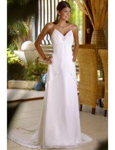 sexy and glamour spaghetti straps chiffon a-line floor length beach wedding dress