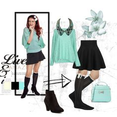 Spring 2015 Outfit with Turquoise & Black + Knee High Socks by fiorelle on Polyvore featuring Rules by Mary, BCBGeneration and CHARLES & KEITH