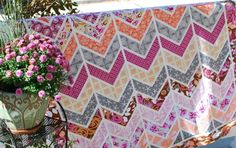Hyacinth Quilt Designs....beautiful quilting ideas...love the chevron pattern of this one!
