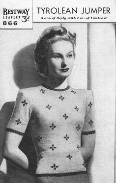 vintage short sleeved ladies jumper knitting pattern