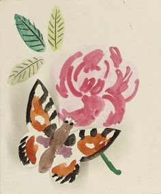 'butterfly' - by duncan grant - watercolour - 1957 Helene Schjerfbeck, Collages, Duncan Grant, Vanessa Bell, Bloomsbury Group, Flying Flowers, Korean Art, Watercolor Art, Contemporary Art