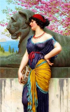 Godward, John William- Grove- Temple of Isis ----> Snow White? John William Godward, Lawrence Alma Tadema, Classic Paintings, Pre Raphaelite, Victorian Art, Classical Art, Old Art, Art Studies, Woman Painting