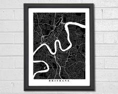 Brisbane Map Art - Map Print - Black and White - City Map Art - Brisbane Map - Brisbane - Australia - Wedding Gift - Engagement Gift