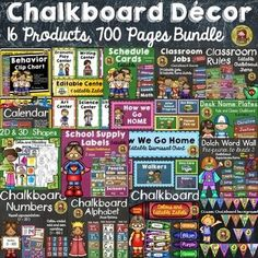 Decorate your classroom with this classic kids and chalkboard class decor set. This mega bundle comprises of 16 complete individual products totaling 700 pages for just$12! https://www.teacherspayteachers.com/Product/CLASS-DECOR-CLASS-DECOR-MEGA-BUNDLE-KIDS-CLASSIC-CHALKBOARD-1964398