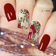 Beautiful Nail Designs, Cute Nail Designs, Cute Nails, My Nails, Dark Red Nails, Stylish Nails, Winter Nails, Nails Inspiration, Beauty Nails