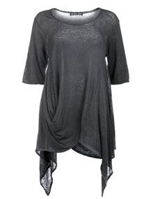 Barbara Speer Linen shirt with frayed edges in Anthracite / Wash-Out