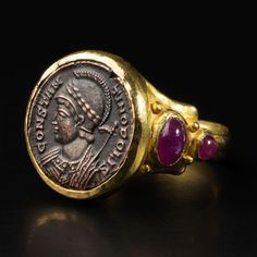 Gold Ring with Ancient Roman Coin of Emperor Constantine. This and more ancient jewelry for sale on CuratorsEye.com