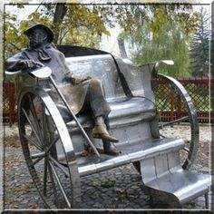 Famous Hungarian writer Krúdy Gyula statue in Siofok, Hungary