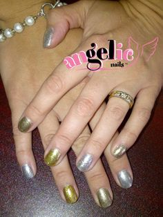 Gel nails with Glitter press. Glitter Gel Nails, Christmas Nail Art, Art Ideas, Nail Polish, Hand Painted, Nail Polishes, Polish, Manicure, Nail Polish Colors
