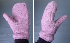 wool felt fleece-lined mittens