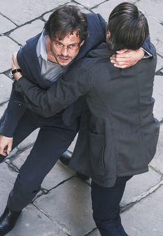 Hugh Dancy and Mads Mikkelsen, Hannibal BTS