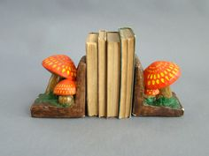 Mushroom Bookends; Mid Century Bookends; Funky; Psychadelic; Orange Mushrooms; Alice in Wonderland; Whimsical; Vintage Bookends; by PurpleMouseStories on Etsy
