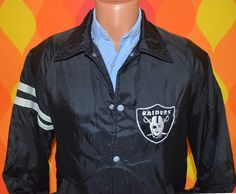 82df0817b59 70s vintage windbreaker RAIDERS oakland LA nfl football jacket Small black  stahl urban