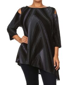 This Black Asymmetrical Shoulder Cutout Top - Plus is perfect! #zulilyfinds