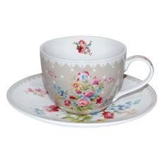 Eredeti olasz porcelán presszó csésze és a hozzátartozó tálka. A Nuova R2S Le Secret Jardin kollekciójának része.