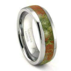 Tungsten Carbide Green & Red Marble Inlay Dome Wedding Band Ring Titanium Kay. $99.99