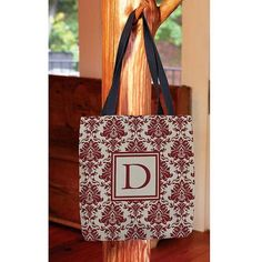 Thumbprintz - Damask Monogram Tote Bag, Women's, Size: 16 inch x 16 inch, Red