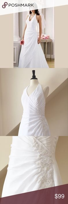 """🆕 David's Bridal Wedding Dress NWT David's Bridal Wedding Dress...Georgette halter with side draped bodice and beaded lace detail, zipper closure and sweep train. (NEW SAMPLE WITH TAGS...very minor discoloration near bottom of hem...nit noticeable when worn)...bust 42"""", waist 33"""", hips 45""""...poly...  Size 16. Retail $499 David's Bridal Dresses Wedding"""