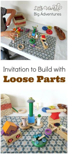 See how you can set up an invitation to build with loose parts and take your child& block play to another level of creativity and fun! Childcare Activities, Kids Learning Activities, Weather Activities, Free Activities, Creative Activities For Kids, Creative Play, Block Area, Block Play, Small World Play