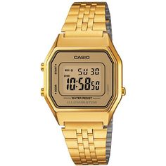 Casio Women's Digital Vintage Gold-Tone Stainless Steel Bracelet Watch... (€50) ❤ liked on Polyvore featuring jewelry, watches, gold, vintage wristwatches, vintage wrist watch, casio wrist watch, stainless steel watch bracelet and digital watches