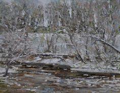 "Raymond Berry: Near Byrd's Mill, First Snow 2012, Oil on Canvas, 11"" x 14"""