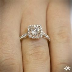 Verragio Cushion Halo Diamond Engagement Ring. I usually don't go for this type but it's so pretty!