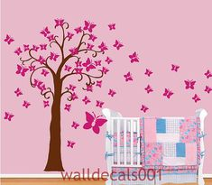 Baby Girl Wall Decal Nursery Wall Sticker Butterfly Flower Wall Decor   Butterfly Floral Ball Z108 Cuma On Etsy, $70.00 | Baby Ideas | Pinterest Part 70
