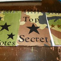 Camo! camo! camo! These notebooks look the part for all your top secret information.     Choose from top secret, 4 star general, and notes with 3 black stars.