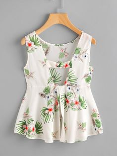 Jungle Print Open Back Knotted Peplum Tank Top -SHEIN(SHEINSIDE)