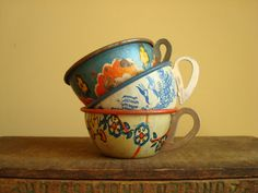 Tin toy teacups Ohio Art set of 3 vintage by SunnyDayVintage, $25.00